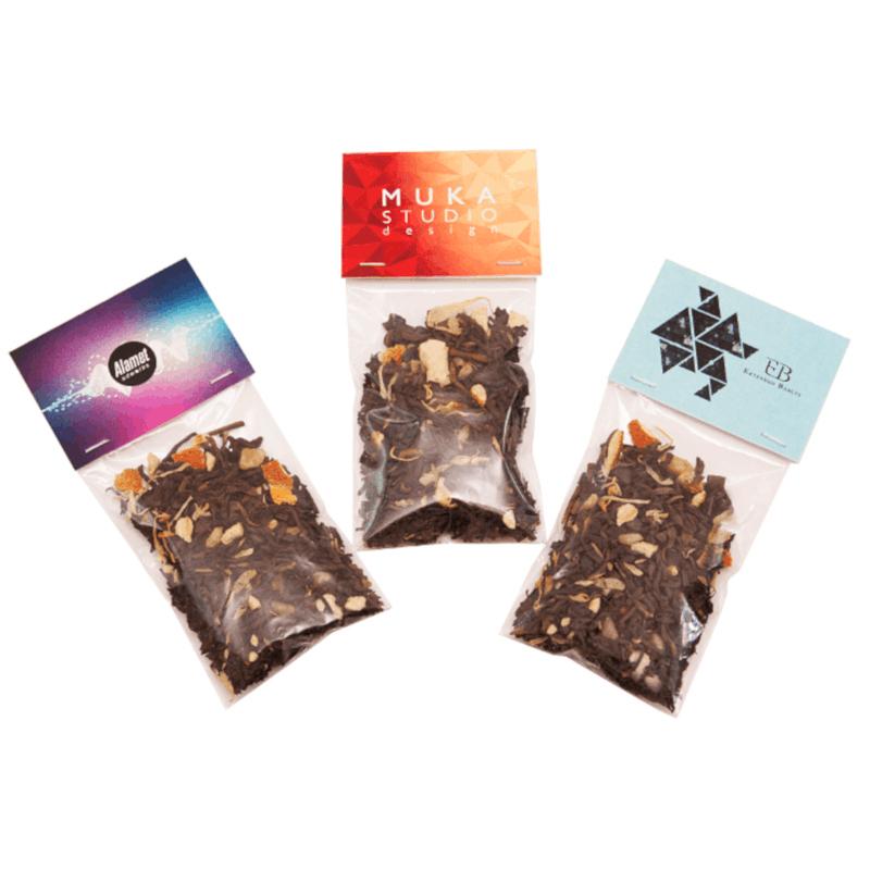 Afbeelding van 100 st. Bedrukte 8 gram thee in zakje Full colour kopkaartje bedrukken horeca promotieartikelen