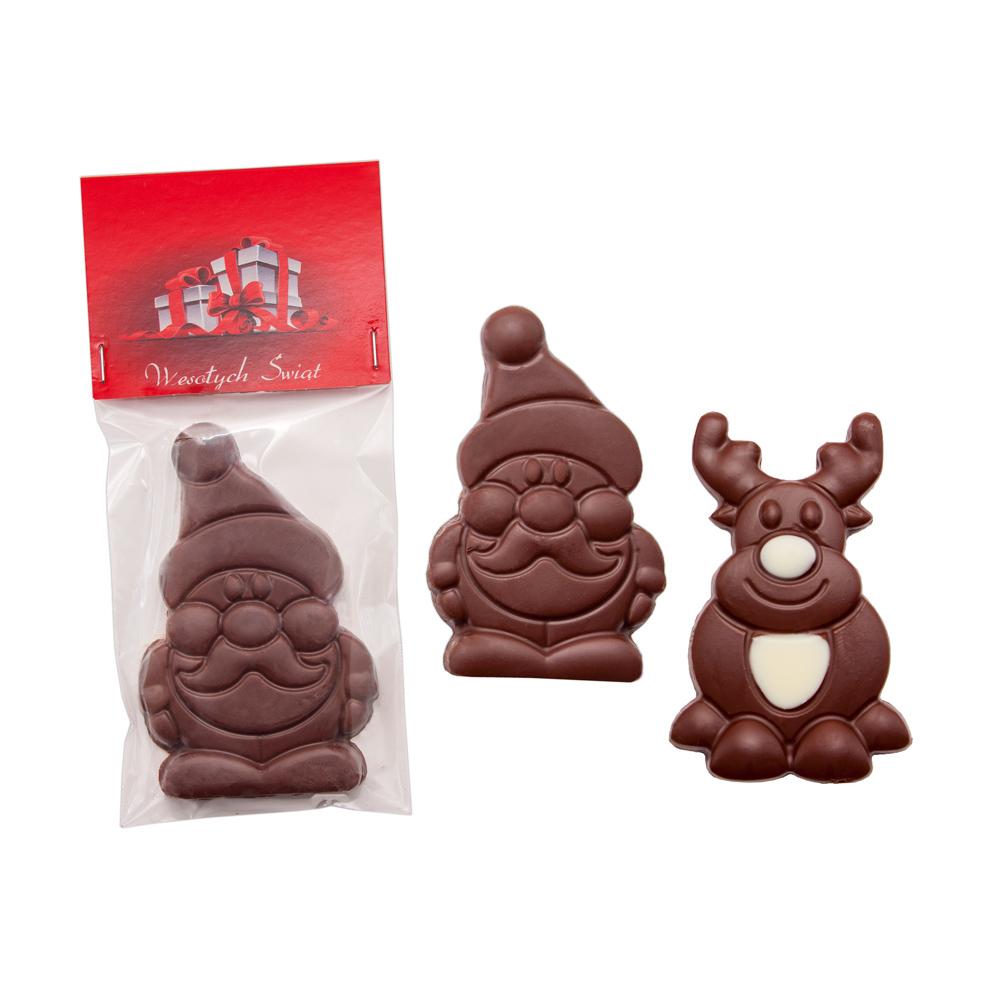 Afbeelding van 100 st. Bedrukte chocolade Kerstman of rendier Full colour kaartje bedrukken