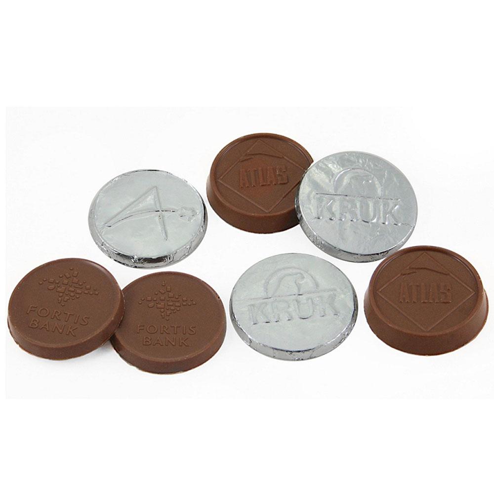 Afbeelding van 1000 st. Chocolade rond met reliëf druk 3,5 cm In 18 werkdagen