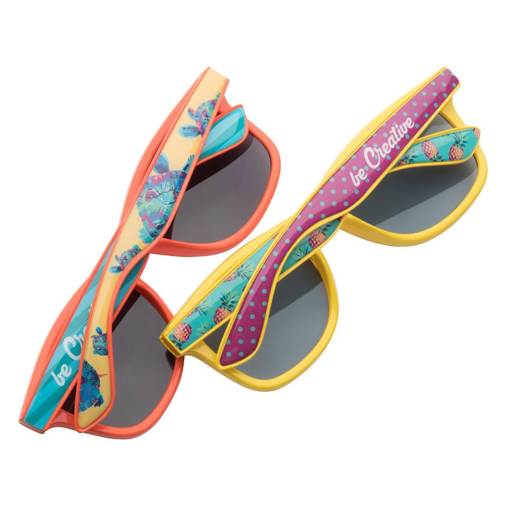 Afbeelding van 100st. Bedrukte Zonnebril Full colour pootjes (doming) bedrukken zonnebrillen