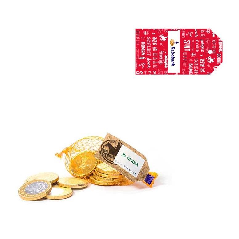 Afbeelding van 100 st. Chocolade bedrukken Chocolademunten in netje Gepersonaliseerd label