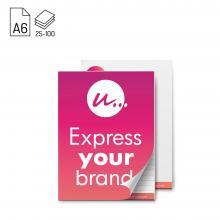 Schrijfblok A6 met voorblad | Eigen ontwerp all-over | 25 - 100 vel