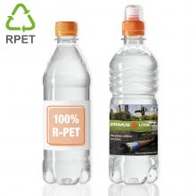 Waterflesjes bedrukken | 500 ml | Gekleurde platte dop | 100% R-PET