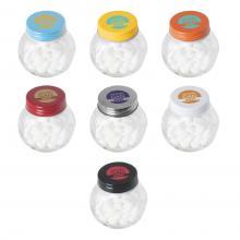 Bonbonglas mini gefüllt mit ca. 30 gr. Mints, farbigem Deckel