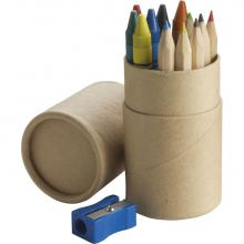 Koker met kleurpotloden, waskrijt en puntenslijper