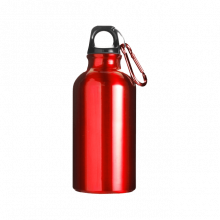 Sportfles met karabijnhaak | 400 ml | Gravering of opdruk | max141 Rood
