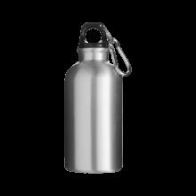 Sportfles met karabijnhaak | 400 ml | Gravering of opdruk | max141 Zilver