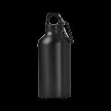 Sportfles met karabijnhaak | 400 ml | Gravering of opdruk | max141 Zwart