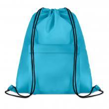 Polyester rugzakje | Met extra voorvak | Zware kwaliteit | 8759177 Turkoois