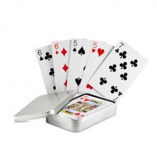 Speelkaarten in blikken doosje met logo op doosje