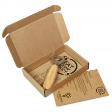 Gegraveerde houten flesopener | Met gepersonaliseerde A6 kaart