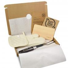 Gepersonaliseerde snijplank | Met vleesthermometer & handschoenenset | BBQfoodbox004 CustomMade