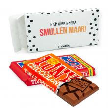Tony's Chocolonely in bedrukte brievenbusdoos | Chocolade reep 180 gram