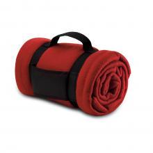 Fleece deken | Draagband met logo | 8797245 Rood
