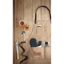 Trendy canvas schort | Leren details