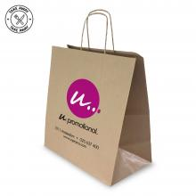 Papieren tas | Wit of bruin | Gedraaid handvat | Geschikt voor Take Away
