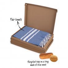 Giftbox | Hamamdoek en zeep met houder | Gepersonaliseerd kaartje