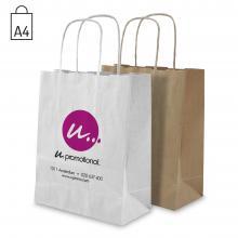 Papieren tas | A4 | Wit of bruin | Beste prijs | Gedraaid handvat