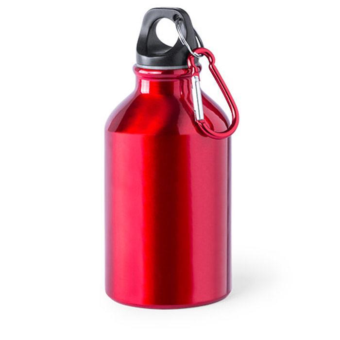 Aluminium fles | Met karabijnhaak | 300 ml  | 154821 Rood