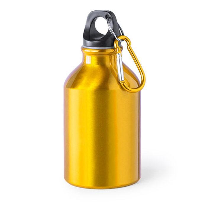 Aluminium fles | Met karabijnhaak | 300 ml  | 154821 Geel