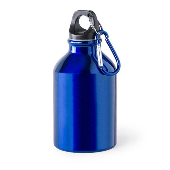 Aluminium fles | Met karabijnhaak | 300 ml  | 154821 Blauw