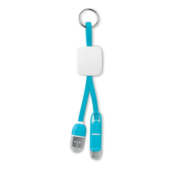 Sleutelhanger met USB en micro-USB   8798887 Turkoois
